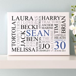Personalised 30th Birthday Word Art